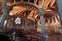 Chapel in the Colonia Guell in Santa Coloma de Cervello (Catalonia, Spain). Colour Architecture, Art Nouveau Architecture, Church Architecture, Antoni Gaudi, Beautiful World, Spain, Story Inspiration, Poland, Christianity