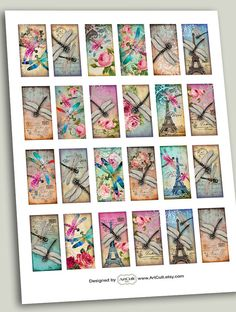 Printable images DRAGONFLY DOMINOES 1x2 inch Digital Collage