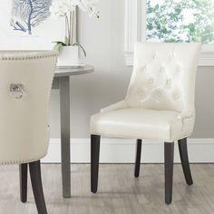 Leather Dining Chair Ring White Elegant Nailhead Glam 2 Set Furniture Seat New #Safavieh #Glam #Furniture #Chair #Dining #DiningChair