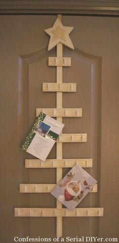 Tree card holder, 4ft card holder, rustic Christmas, wood ...