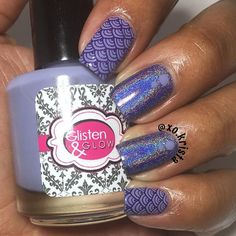 'Purple' for #clairestelle8june. Purple is my favorite color so I was struggling to decide what polishes to use. I ended up with something simple using @glistenandglow1 'Mantras Atop Mountains' on my pinky and index stamped with @creativeshopstamping plate 10 and @mundodeunas 'Violet.' My middle and ring fingers are the lovely 'La Llorona' by @viragovarnish 😈