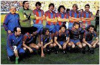 F. C. BARCELONA - Barcelona, España - Temporada 1980-81 - Anguera (auxiliar), Artola, Alexanco, Paco Martínez, Zuviría, Schuster, Olmo; Mur (masajista), Carrasco, Simonsen, Esteban, Quini y Ramos - F. C. BARCELONA 3 (Quini 2 y Esteban),  REAL SPORTING DE GIJÓN 1 (Maceda) - 18/06/1981 - Copa del Rey, final - Madrid, estadio Vicente Calderón - El BARCELONA gana su 19º título de Copa Barcelona Football, Fc Barcelona, Spud Webb, Soccer, 1, Vintage, Breakfast Nook, Football Team, Barcelona Team