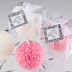 Rose Ball Candle Wedding Favor | Candle Wedding Favors