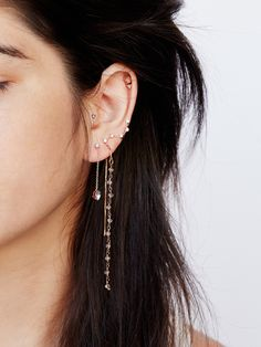 Teeny Tiny Piercing Set | With stones, charms, chains and studs this earring set come sin quite a collection displayed on a leather patch. Mix and match as you like! Post backs with one threader.