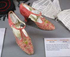 1920s shoes at the Keeping Up Appearances exhibition at Oxfordshire Museum