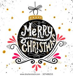 Merry Christmas retro poster with hand lettering, Christmas ball and decoration elements. This illustration can be used as a greeting card, poster or print. - stock vector