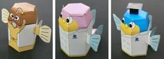 Aquatic Animals Paper Toys - by Fisheries Research Center - == -  You will find a lot of paper models of Realistic Aquatic Animals in this Japanese website and three easy-to-build little fish in toon style for kids.