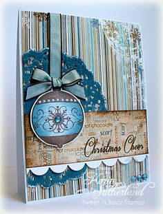 Christmas Cheer in non-traditional blue and brown...pretty!