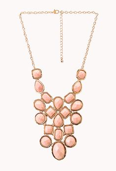 Faceted Faux Stone Bib Necklace | FOREVER 21 - 1027706297