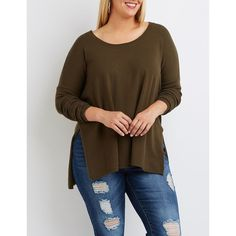 Charlotte Russe Oversized Drop Shoulder Sweater ($29) ❤ liked on Polyvore featuring plus size women's fashion, plus size clothing, plus size tops, plus size sweaters, olive, long sleeve sweater, over sized sweaters, women's plus size tops and plus size brown sweater