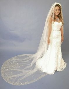 Beaded Embroidery Cathedral Length Wedding Veil E1122L by Elena Designs.
