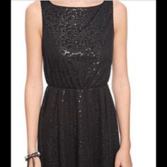Nwot F21 Black Sequined Fit And Flare Dress