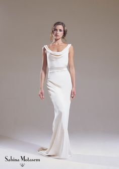 The Josephine dress – Sabina Motasem. A cowl neck, backless, slinky wedding dress and a puddle train. www.motasem.co.uk #biascutweddingdress #cowlneckweddingdress #sabinamotasem
