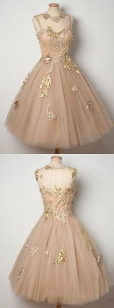 champagne homecoming dress,tulle homecoming dress,lace homecoming dress,ball gown homecoming dress