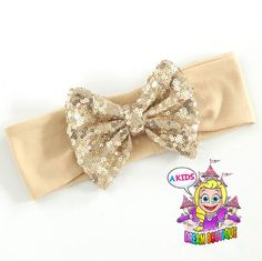 gold sequin headband gold sequin bow gold by AKidsDreamBoutique