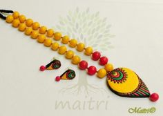 Widest Range Of Big Size Terracotta Sets & Necklaces - Best Quality with Best Prices. Handmade - Unique Products - Exclusive Variety ✓COD Available ✓Free Delivery on all orders above Rs Beaded Necklace Patterns, Jewelry Patterns, Funky Jewelry, Jewelry Art, Thread Jewellery, Handmade Jewellery, Teracotta Jewellery, Terracotta Jewellery Designs, Polymer Clay Necklace