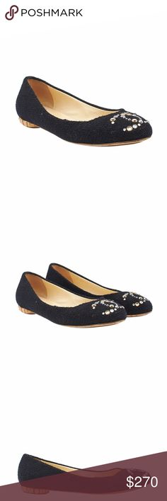 Chanel Black Fabric Flats (137795) These Chanel flats feature:  •Bottom soles show wear  •Exterior uppers show light wear  •Insoles show staining and wear  •We have converted these from a European 40 to a US 10 •Overall Condition: Pre-owned •Type: Flats •Material: Fabric •Origin: Italy •Hardware: Rhinestone/Gold-Tone •Odor: Perfume •Size System: US •Weight: 1 lbs •Size: 10 •Insole: 12 •Sole Width: 3 •Production Code: G28134 CHANEL Shoes Flats & Loafers