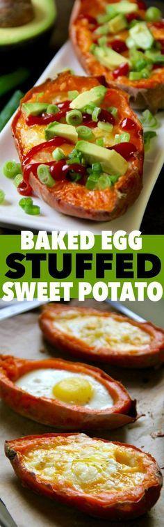 Baked egg stuffed sweet potatoes .