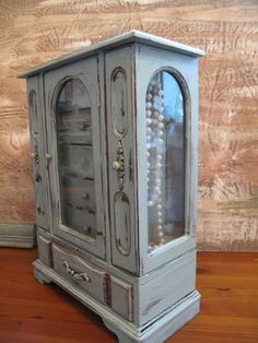 UPcycled Vintage Jewelry Box, Jewelry Chest, Gift, Handpainted, Distressed in Duck Egg Blue