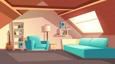 Buy Vector Cartoon Empty Garret Room Attic Interior by vectorpocket on GraphicRiver. Vector cartoon background with empty garret room, modern loft apartment under wooden roof, attic interior. Luxury Duvet Covers, Luxury Bedding, Modern Bedding, Modern Loft Apartment, Loft Apartments, Contemporary Apartment, Loft Spaces, Apartment Interior, Casa Anime