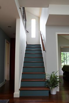 Beautiful Painted Staircase Ideas for Your Home Design Inspiration. see more ideas: staircase light, painted staircase ideas, lighting stairways ideas, led loght for stairways. Painted Staircases, Painted Stairs, Hardwood Stairs, Wooden Stairs, Hallway Flooring, Basement Stairs, House Stairs, Basement Ideas, Rehab House