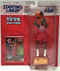 Jerry Stackhouse 1996 Edition Starting Lineup NBA Action Figure with Rookie Card Nba Action Figures, Operation Christmas Child, Thing 1, Sports Art, Nba Basketball, Gifts For Boys, Lineup, Vintage Toys, Baseball Cards