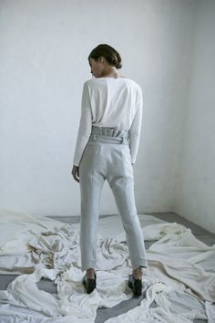 Winter look Wool pants and organic cotton t-shirt
