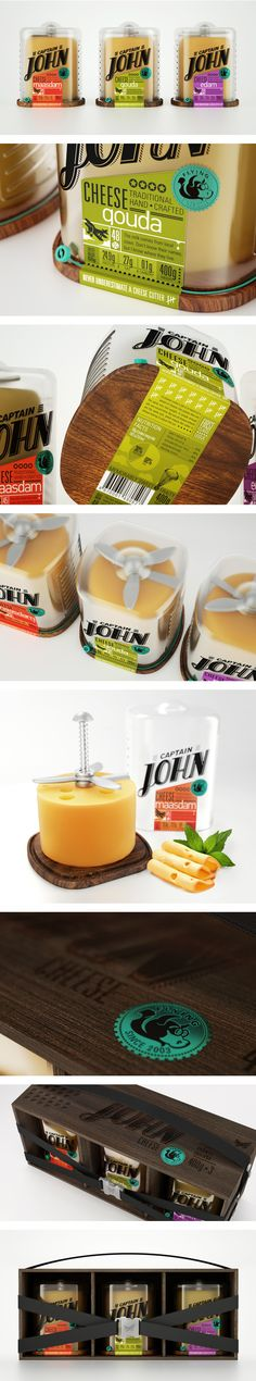 Captain John Cheese packaging by Galya Akhmetzyanova and Pavla Chuykina on Behance Cheese Packaging, Food Packaging Design, Bottle Packaging, Pretty Packaging, Packaging Design Inspiration, Brand Packaging, Branding Design, Simple Packaging, Packaging Ideas