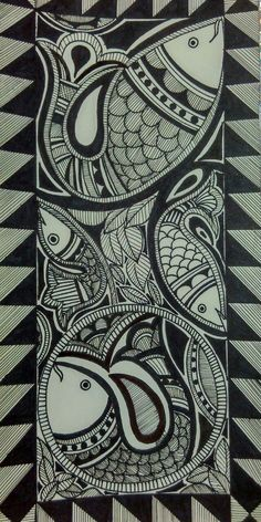 Madhubani Painting : Fishes With Pen Art Painting, Indian Art Paintings, Fish Art, Madhubani Art, Mandala Design Art, Painting, Art, Madhubani Painting, Kalamkari Painting