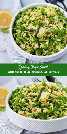 This spring orzo salad is full of bright and fresh flavors that will make you happy from the very first bite! Crisp asparagus, spicy arugula, and flavorful pine nuts are all dressed in a springy basil lemon vinaigrette. Diet Recipes, Vegetarian Recipes, Cooking Recipes, Healthy Recipes, Orzo Salad Recipes, Pasta Salad, Lemon Orzo Salad, Arugula Recipes, Kale Salads