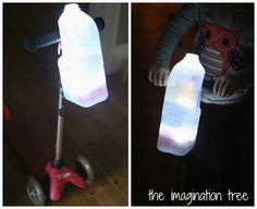 #DIY bike/scooter lanterns. Battery led light plus milk jug. #milkjugs