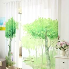 wide digital print custom window curtain panel choose tree patterns or provide your own pictures one wide panel