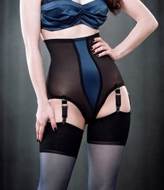Retro Lingerie - High Waist Power Mesh 6 Strap Panty Girdle with Blue Satin Center Panel $52.00