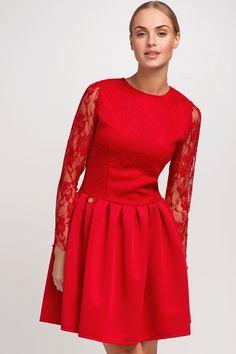 Makadamia M248 Sukienka - czerwony
