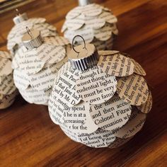 These Christmas ornaments are handmade from the pages of recycled books. They measure about 3.5 inches in diameter and made on a plastic base which makes them lightweight and shatterproof. Due to the use of actual book each ornament will be 100% unique and may feature different book text #christmastree #christmas #tree #2020 Christmas Tree Decorations To Make, Recycled Christmas Tree, Book Christmas Tree, Book Tree, Diy Christmas Ornaments, Autumn Decorations, Christmas 2019, Fall Decor, Xmas