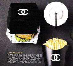 Chanel Takeover Mcdonalds as Fashion Capitol of the WORLD. Coco Chanel Burger and Fries. I want all my fast food meals to have this packaging lolCoco Chanel Burger and Fries. I want all my fast food meals to have this packaging lol Karl Lagerfeld, Burger Bar, Burgers, Burger Menu, Chanel Couture, Mcdonalds, Famous Fashion Quotes, Famous Quotes, Mademoiselle Coco Chanel