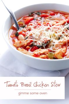 Tomato Basil Chicken Stew - Gimme Some Oven - eliminate the chicken and add more beans to make it vegetarian, yum! Cooker Recipes, Soup Recipes, Healthy Recipes, Basil Recipes, Jambalaya, Stew Chicken Recipe, Chicken Recipes, Cooked Chicken, Chicken Soup