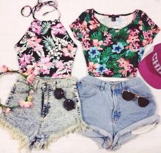 tropical print summer outfit