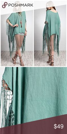 ONLY 1 SMALL LEFT!! BOHO Luxury Fringe Poncho Boho inspired solid luxury statement fringe detailing poncho in an oversized silhouette, sheer body, dolman sleeves. 100% Polyester Sweaters Shrugs & Ponchos