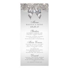 Silver Sequins Bow Wedding Menu