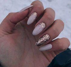 Glitter Gel Nails, Almond Acrylic Nails, Cute Acrylic Nails, Nail Manicure, Cute Nails, Pretty Nails, Heavenly Nails, Mickey Nails, Oval Nails