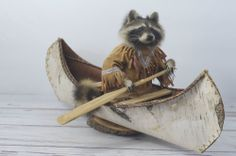 Taxidermy Raccoon Mount Full Size In Birch Canoe Excellent Condition