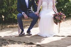 Deep Red Bridal Bouquet |  Otaduy Wedding Dress | L'Avellana Tarragona Spain Wedding Venue | Outdoor Wedding | Bright Colour Scheme | F2 Studio Photography | Focuslab Videography | http://www.rockmyweddingco.uk/marta-pablo/