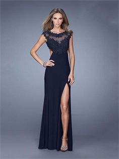 A-line Boat Neckline High Slit Cutout Back Chiffon Prom Dress PD11889