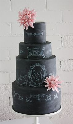 Chalkboard Wedding Cake with Pink Flowers