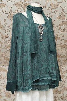 Quirky Fallen Saints Lagenlook Emerald Green 2piece Tunic Dress Scarf XL 16 18 | eBay