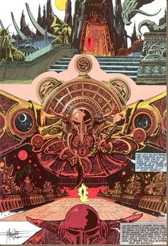 The Hall of the Mountain Grill - An Ancient Mystical Realm and the name of a corridor in a restaurant in Ladbroke Grove.  Art by Philippe Druillet/Sloane
