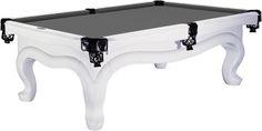 Modern White Pool Table with Grey Felt - change to black felt