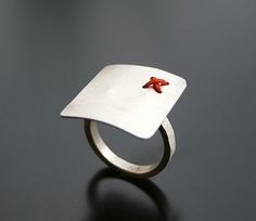 Handcrafted sterling silver ring with waxed linen cord. Love the combination of metal & fiber. Maria Apostolou
