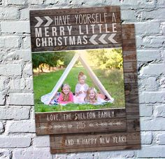 Photo Christmas Card Template: Rustic Christmas Pallet Wood Have Yourself a Merry Little Christmas Custom Photo Holiday Card Printable by deanworks on Etsy https://www.etsy.com/listing/247086754/photo-christmas-card-template-rustic